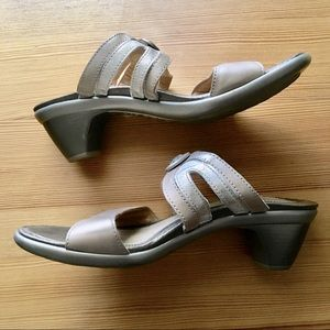 NAOT Mules in muted Gold & Silver